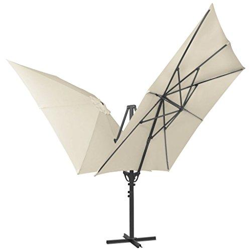 Festnight Sonnenschirm Doppelsonnenschirm Gartenschirm Schirm mit 2 Schirmdächern 300 x 300 cm Creme