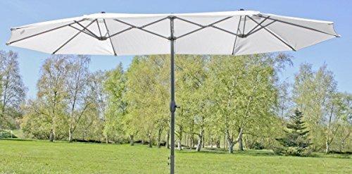 Benelando Doppelsonnenschirm Benelando Großer Sonnenschirm in Creme/Weiß | Doppelsonnenschirm