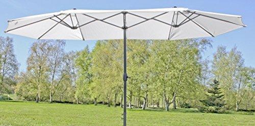 Doppelschirm Doppelsonnenschirm Riesensonnenschirm | ca. 4,65 m breit | großer Doppel-Sonnenschirm | Creme