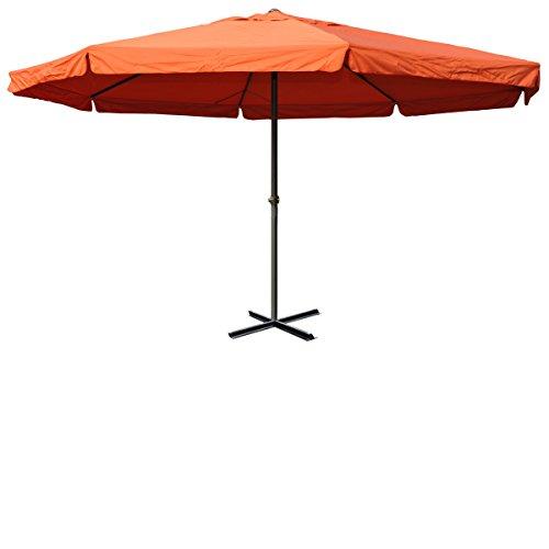 Mendler Marktschirm Alu-Sonnenschirm Meran | Gastronomie Marktschirm mit Volant | Terrakotta