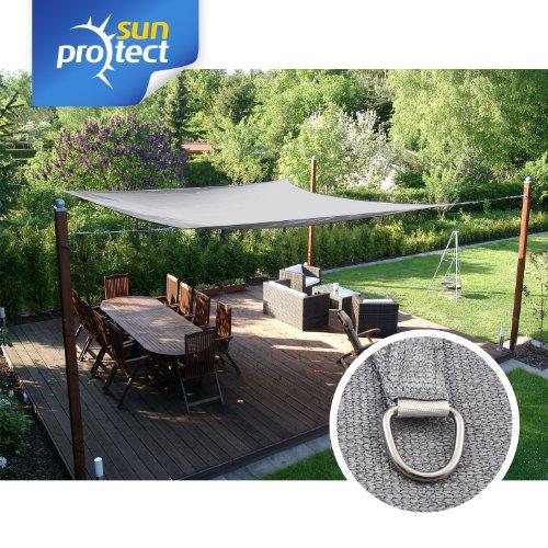 Sonnensegel sunprotect Sonnensegel professional | ca. 350 x 450 cm | Grau-silber