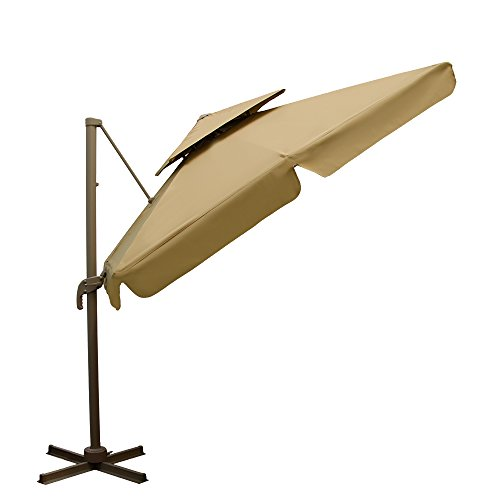 Amanka Doppelsonnenschirm XXL Ampelschirm | ca. 250 x 250 cm rechteckig | Sandfarbe Beige
