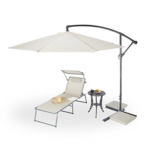 Relaxdays Marktschirm Relaxdays Gartenschirm | ca. 3m Durchmesser | natur