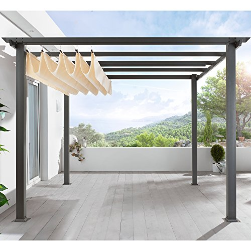 PureDay Standmarkise Terrassen Pavillon Pergola | ca. 290 x 290 x 220 cm | dunkelgrau beige